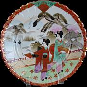 Satsuma PLATE Nippon China Mt Fuji Geisha Scene MEIJI