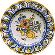 Portuguese Faience Floral Plate Ruffled Edge