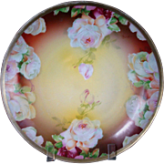 "ROSES 7"" Plate Austrian Signed Georg marked Oscar & Edgar Gutherz circa 1918"