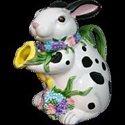 "Easter Rabbit Teapot Schmid Music Box 1995 Plays ""In the Good Old Summertime"" Tea Time Harmonies"