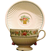 Wedgwood Etruria SMALL CUP & SAUCER Belmar Pattern Creamware Flower Basket US Patent 1917