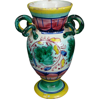 "Majolica 6"" Vase Curly Snake Handles Italy"
