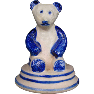 Teddy Bear Bank Beaumont Brothers Pottery Henry 1990 Cobalt Blue Pottery