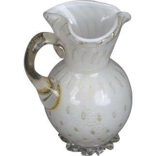Pitcher Murano Aventurine Controlled Bubbles Applied Glass Ruffle