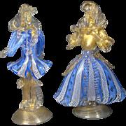 Murano Barovier & Toso Dancing Pair Blue Latticino & Aventurine