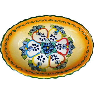 "Mexican Pottery Talavera Style 9"" Oval Bowl Blue Flowers"
