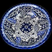 "15"" HUGE Bowl Mexican Pottery BLUE Talavera Centerpiece"