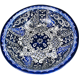 "15"" HUGE Bowl Mexican Pottery BLUE Talavera Centerpiece"