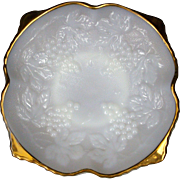 Milk Glass Bowl 1950's Anchor Hocking Grape & Cable Footed Golden Anniversary