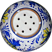 Portuguese Faience Strawberry Bowl Colander Strainer