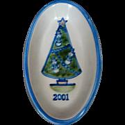 M A Hadley CHRISTMAS TREE Oval Dish 2001 Snowman Decorations Stoneware