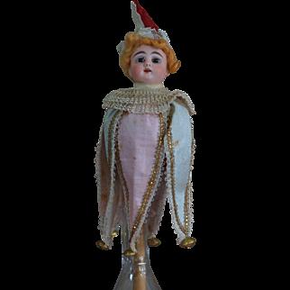 Antique German Bisque Musical Marotte with original costume.