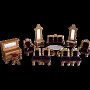 Antique set of German Dollhouse Salon Furniture by Schneegas.