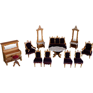 Antique set of German Dollhouse Salon Furniture by Schneegas.