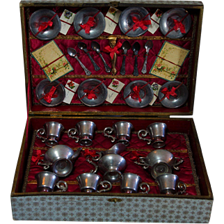 Lovely and uncommun Small Size French Pewter Tea set presentation box.
