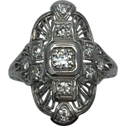 Vintage Platinum Art Deco Filigree Ring C.1920