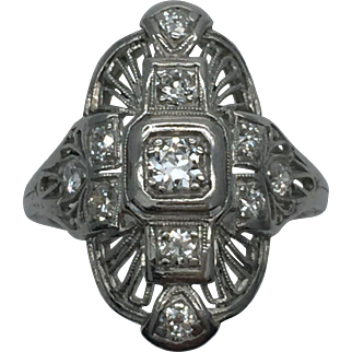 Vintage Platinum Art Deco Filigree Ring C.1920