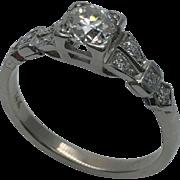 1940's Art Deco European Cut Diamond Ring Platinum & 14K