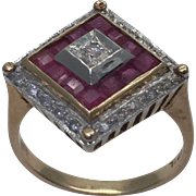 1940's Art Deco Ruby and Diamond 14K Gold Ring
