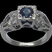 1940's Art Deco 14 Karat Gold Sapphire & Diamond Ring