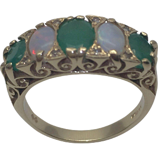 Vintage English 14 Karat Gold Emerald, Diamond And Opal Ring