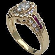 14 Karat Gold Diamond & Ruby Ring