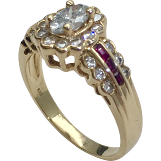 14 Karat Gold Diamond & Ruby Ring