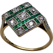 Antique Edwardian 18K Gold & Platinum Emerald & Mine Cut Diamond Ring