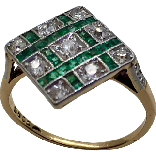 Antique Edwardian 18K Gold & Platinum Emerald & Mine Cut Diamond Ring