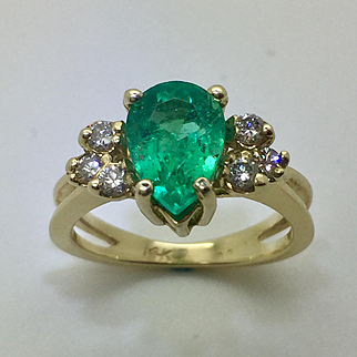 14K Gold 1.8CT Natural Colombian Emerald & Diamond Ring
