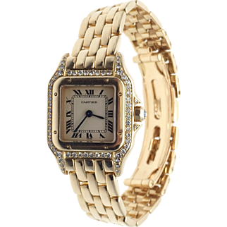 CARTIER PANTHERE 18K Solid Yellow Gold & Diamond Ladies Watch 22mm
