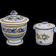 Quimper covered jam pot and sugar bowl
