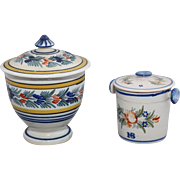 Quimper covered jam pot and sugar bowl