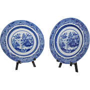 Matched pair of early 19th c. Spode Staffordshire blue transfer dinner plates