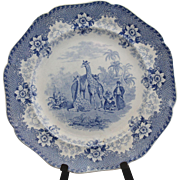 Rare antique blue transferware dinner plate; Giraffe pattern;