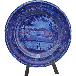 """Early dark blue transfer plate 9"""" in diameter; great blue  mark on back """"Winslow Hall Leicestershire"""""""