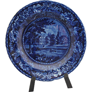 """Antique dark blue Staffordshire plate (8 1/2"""") marked """"Fulham Church Middlesex, Picturesque Scenery, R Halls"""""""