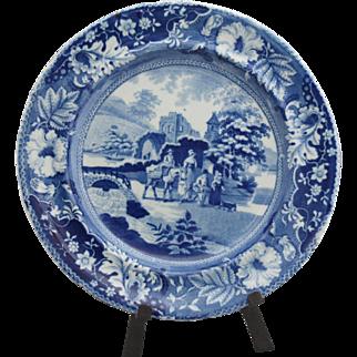"Early blue Staffordshire transferware dinner plate (10"")"