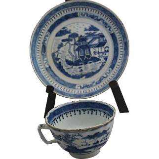 Antique Chinese export blue cup and saucer