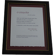 """O Crayola for John Updike"" limited edition poetry broadside by Joyce Carol Oates"