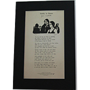 "John Updike poetry broadside ""Sunday in Boston"" signed limited (#77/300) edition also signed by illustrator"