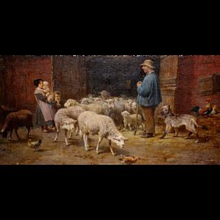 Andre Plumot (1829-1906) Belgian, Coming Home