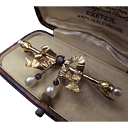 Exceptional 20k Gold Bow Brooch with Diamonds and Pearls in Original Antique Box