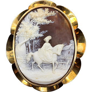 Large Magnificent Deeply Carved Fancy Victorian Cameo With 16K Gold Frame Signed & Dated 1856