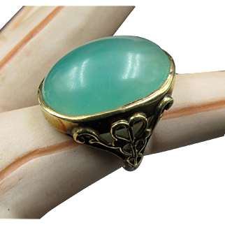 Stunning Jade Cabochon Victorian Ring set in 2 Tone 14K Gold with Scroll-work Sides--It's Magick!