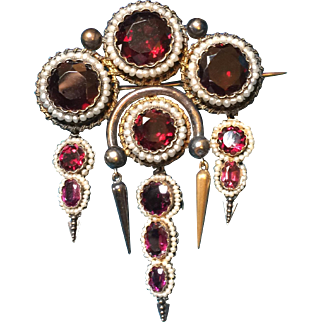 Superb Victorian Etruscan Revival Brooch Featuring Rich Almandine Garnets In 12k Gold!