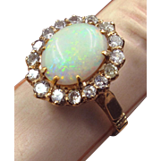 Glowing Edwardian Opal Ring in 14K Rose Gold with Diamond Halo C. 1915
