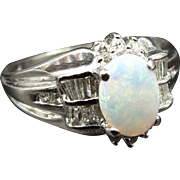 Antique White Gold 14K Ring with Cabuchon-Cut Opal and Diamonds c.1970