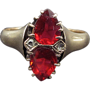 ~The Queen Of Hearts~Rich Rose Cut Garnet and Diamond Ring Late Victorian Circa 1900