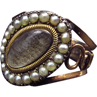~Forget Me Not~ Georgian Mourning Ring in 14k Rose Gold With Pearl Halo & Woven Flaxen Hair